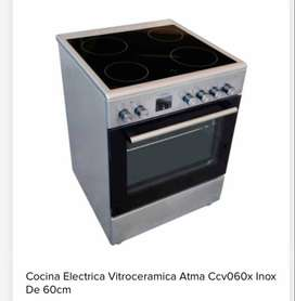 Cocina Electrica Vitroceramica Atma Ccv060x Inox de 60cm