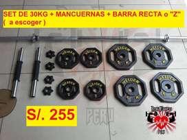 Pesa Weider : 30 kilos + par de mancuernas + Barra Recta o Z (A escoger)