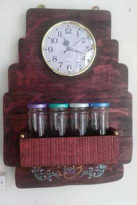 Especiero artesanal madera recuperada con 4 frascos y reloj