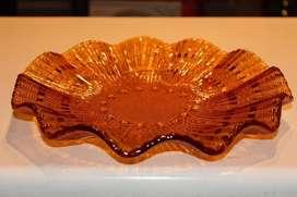 Fuente Centro de Mesa vidrio color caramelo vintage en perfecto estado