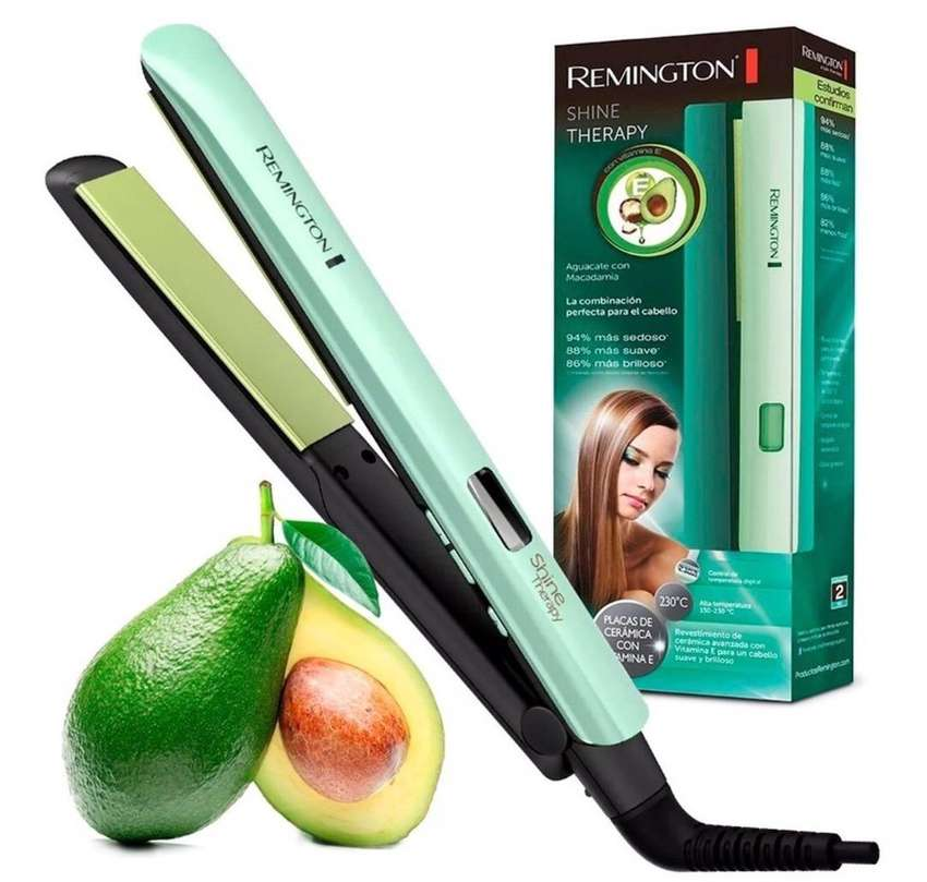 Plancha de cabello remington con macadamia y aguacate.