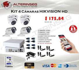 KIT 4 CÁMARAS SEGURIDAD HD 720p