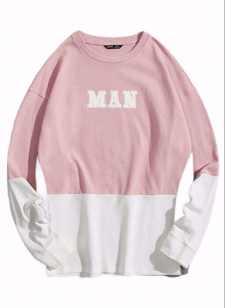 Sueter Unisex Color Rosa Con Blanco