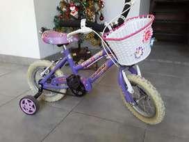 Bicicleta nena kelinbike rodado 12 con rueditas y canastito