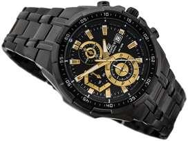 Reloj Casio Edifice Efr539bk-1av1 Pavonado Cronografos Dorados