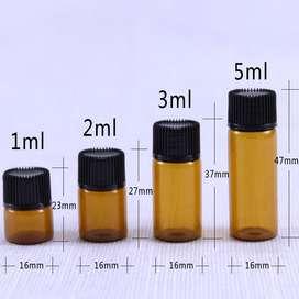 Botella, Frasco, Botellita Cuentagotas Vidrio Ambar 1ml hasta 5ml - Mini Botella. Precio desde S/. 25.00 por 25 unid.