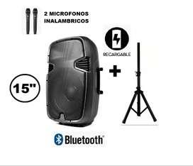 """Cabina de Sonido 16000 w Recargable Tipo Maletero de 15"""" Bluetooth Sonivox + 2 Micrófonos + Control + Trípode"""