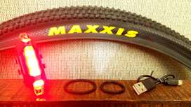 Luz LED Rojo RECARGABLE USB para Bici