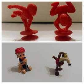 Lote de 4 Juguetes Kinder: 2 Spiderman, Porky y el Coyote