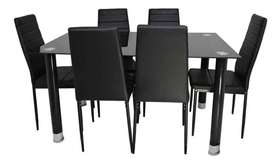 Comedor 6 puestos en vidrio negro