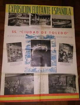 Antiguo afiche Exposición flotante española 1956 buque SS. Ciudad de Toledo