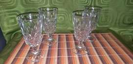 Copas de cristal tallado a mano x 4