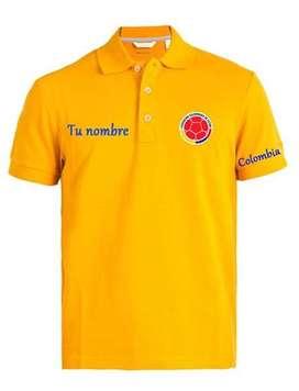 Camiseta Tipo Polo Colombia Personalizada
