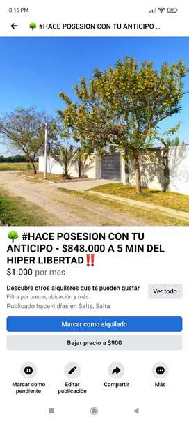 A 5 MIN DEL HIPER LIBERTAD ANTICIPO Y POSESION INMEDITA !!! ULTIMOS LOTES