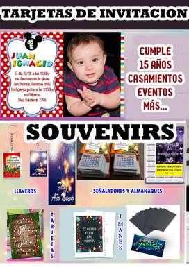 tarjetas y souvenirs para tus fiestas y/o eventos