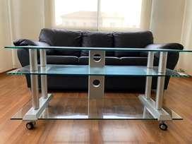 Mesa vidrio templado tv/rack