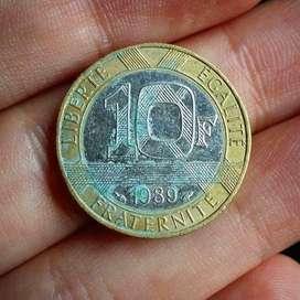 Francia 10 Francs 1989 - Bimetálica - Moneda