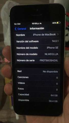 IPHONE SE IMPECABLE 64GB SPACE GRAY