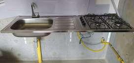 Mesón en aluminio con estufa para instalación a gas