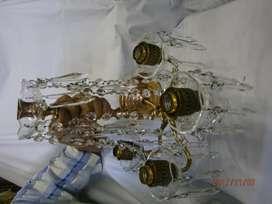 APLIQUE DE PARED CRISTAL BRONCE 4 LUCES 1 VELA , LAGRIMAS EN CRISTAL