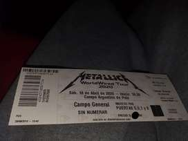 Entrada Metallica 2020