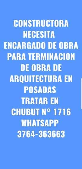 CONSTRUCTORA NECESITA ENCARGADO DE OBRA