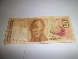 Billete antiguo de 5 AUSTRALES