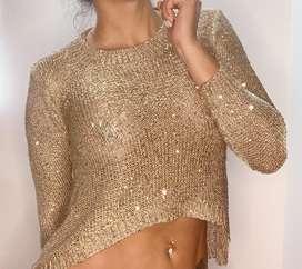 Blusa dorada con destellos plateados