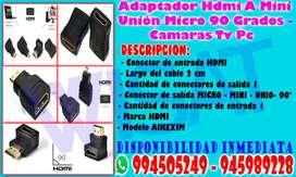 Adaptador Hdmi A Mini Unión Micro 90 Grados - Camaras Tv