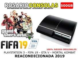 PLAYSTATION 3 REACONDICIONADAS 2019 + 500GB + GTAV + MORTAL K + FIFA19