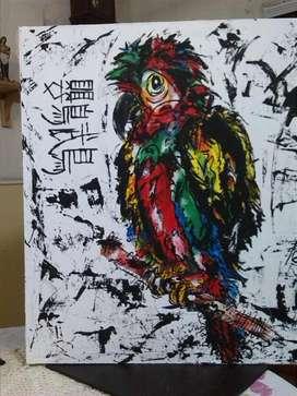 Pintura elaborada en lienzo ORIGINAL..titulo LORO