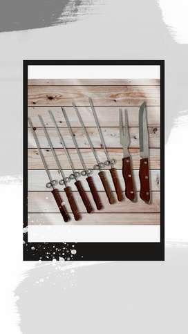 Kit cuchillo y pinchos para asados acero japoneses