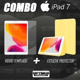 Kit Vidrio Cristal Templado Y Estuche Case Protector de tapa Con portalápiz Tablet iPad 7 Generación 10.2
