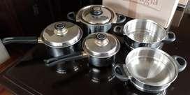 Ollas de acero Record tapas de acero 8 piezas