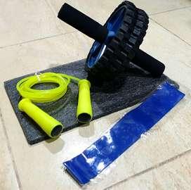 Kit rueda abdominal, tapete, lazo, banda elástica y colchoneta