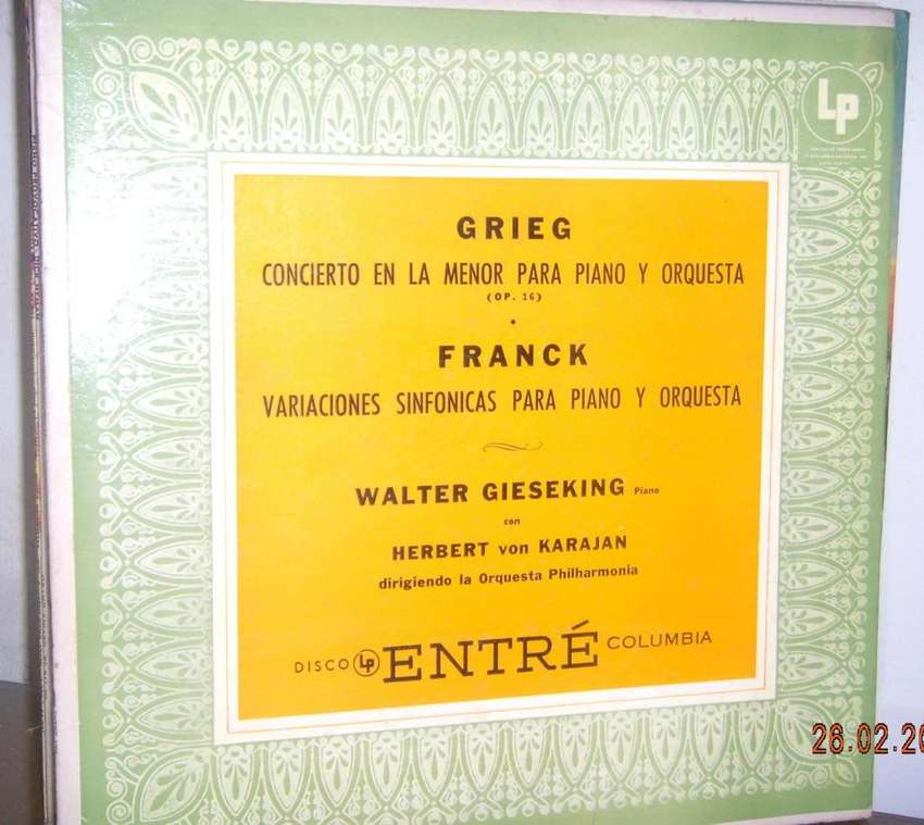 Disco De Vinilo L P Grieg Y Franck Por Walter Gieseking 0