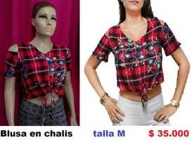 blusa en cahlis talla M