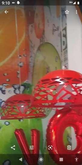 Lámparas rojas decorativas c/ focos led