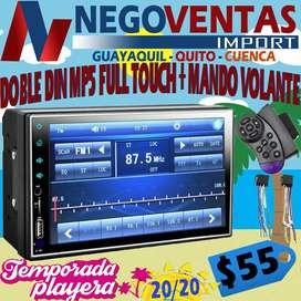 RADIO PANTALLA FULL TOUCH DOBLE DIN MP5 MAS CONTROL MANDOS AL VOLANTE BLUETOOTH USB SD AUX FM PARA CARROS
