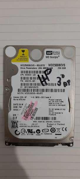 Disco duro HDD 250GB para portatil segunda mano