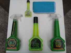 Kit de Limpieza para autos marca Qualco Ecológico Shampoo, Silicona, Abrillantador de Llantas y Limpiaparabrisas