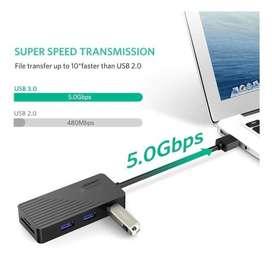 Ugreen 5-en-1 adaptador para 3 usb y 2 puertos tarjeta SD / TF