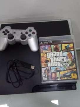 PS3 slime + control plateado + película gta5 original