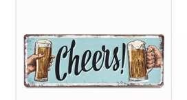Aviso Cerveza Cheers 40x15