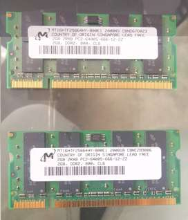 MEMORIA DDR2 DE 2 GIGAS BUS DE 800 MHZ PAR  MICRON o KINGSTONE