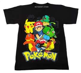 Camiseta Pokémon , Ash , Pikachu Bulbasaur