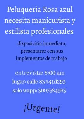 Urgente Manicurista y Estilista profesional.