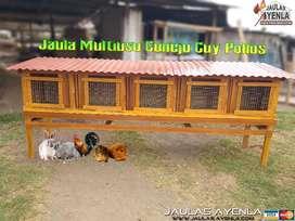 Jaula de Conejo Cuyes Pollos Gallinas 5 Servicios