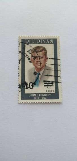 ESTAMPILLA, PILIPINAS, JOHN F KENNEDY 1917-1963, SELLO  6 KOREO