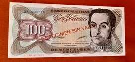 Billete especimen 100 bolivares